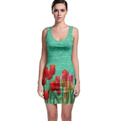 Green Denim Flowers Bodycon Dress by snowwhitegirl