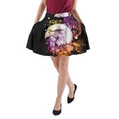 Awesome Eagle With Flowers A Line Pocket Skirt by FantasyWorld7