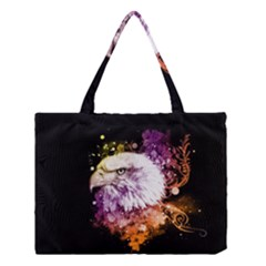 Awesome Eagle With Flowers Medium Tote Bag