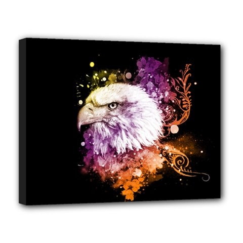 Awesome Eagle With Flowers Canvas 14  X 11  by FantasyWorld7