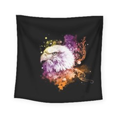 Awesome Eagle With Flowers Square Tapestry (small) by FantasyWorld7