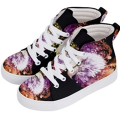 Awesome Eagle With Flowers Kid s Hi Top Skate Sneakers by FantasyWorld7