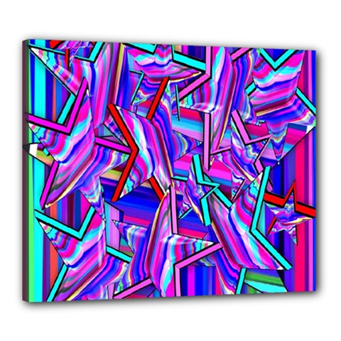 Stars Beveled 3d Abstract Stripes Canvas 24  X 20