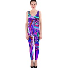 Stars Beveled 3d Abstract Stripes One Piece Catsuit