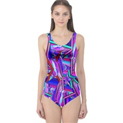 Stars Beveled 3d Abstract Stripes One Piece Swimsuit