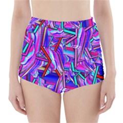Stars Beveled 3d Abstract Stripes High Waisted Bikini Bottoms