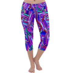Stars Beveled 3d Abstract Stripes Capri Yoga Leggings