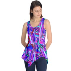 Stars Beveled 3d Abstract Stripes Sleeveless Tunic