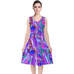 Stars Beveled 3d Abstract Stripes V Neck Midi Sleeveless Dress