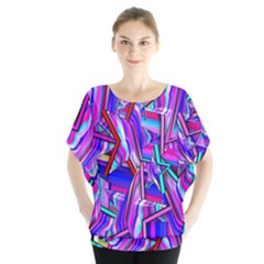 Stars Beveled 3d Abstract Stripes Blouse