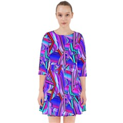 Stars Beveled 3d Abstract Stripes Smock Dress