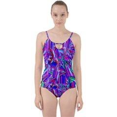 Stars Beveled 3d Abstract Stripes Cut Out Top Tankini Set
