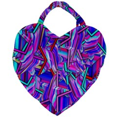 Stars Beveled 3d Abstract Stripes Giant Heart Shaped Tote