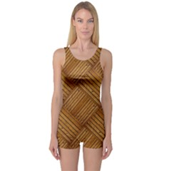 Wood Texture Background Oak One Piece Boyleg Swimsuit