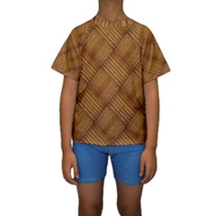 Wood Texture Background Oak Kids  Short Sleeve Swimwear