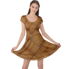 Wood Texture Background Oak Cap Sleeve Dress