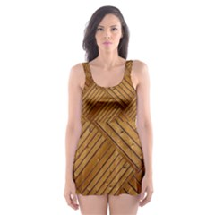 Wood Texture Background Oak Skater Dress Swimsuit