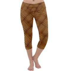 Wood Texture Background Oak Capri Yoga Leggings