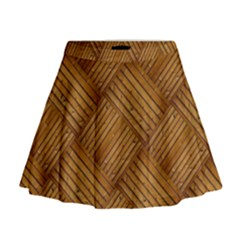 Wood Texture Background Oak Mini Flare Skirt