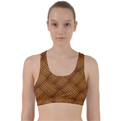 Wood Texture Background Oak Back Weave Sports Bra