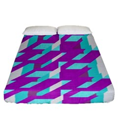 Fabric Textile Texture Purple Aqua Fitted Sheet (queen Size)
