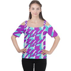 Fabric Textile Texture Purple Aqua Cutout Shoulder Tee