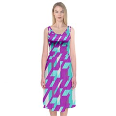 Fabric Textile Texture Purple Aqua Midi Sleeveless Dress