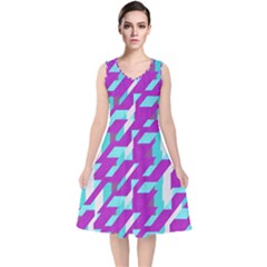 Fabric Textile Texture Purple Aqua V Neck Midi Sleeveless Dress