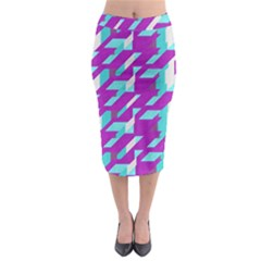 Fabric Textile Texture Purple Aqua Midi Pencil Skirt