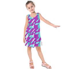 Fabric Textile Texture Purple Aqua Kids  Sleeveless Dress