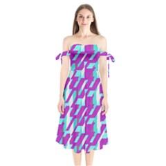 Fabric Textile Texture Purple Aqua Shoulder Tie Bardot Midi Dress