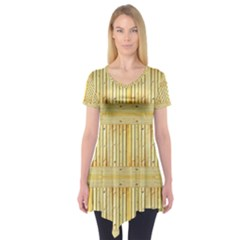 Wood Texture Grain Light Oak Short Sleeve Tunic