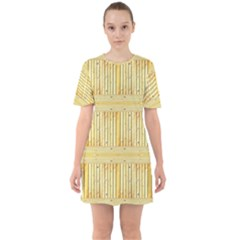 Wood Texture Grain Light Oak Sixties Short Sleeve Mini Dress