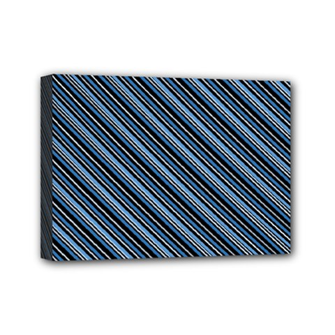 Diagonal Stripes Pinstripes Mini Canvas 7  X 5
