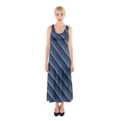 Diagonal Stripes Pinstripes Sleeveless Maxi Dress