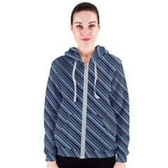 Diagonal Stripes Pinstripes Women s Zipper Hoodie