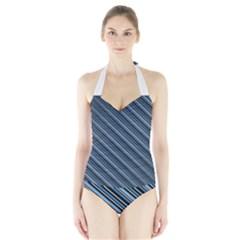 Diagonal Stripes Pinstripes Halter Swimsuit