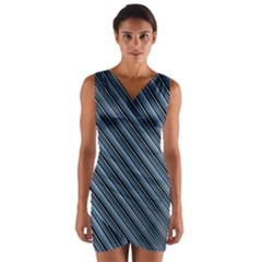 Diagonal Stripes Pinstripes Wrap Front Bodycon Dress