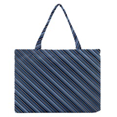 Diagonal Stripes Pinstripes Zipper Medium Tote Bag