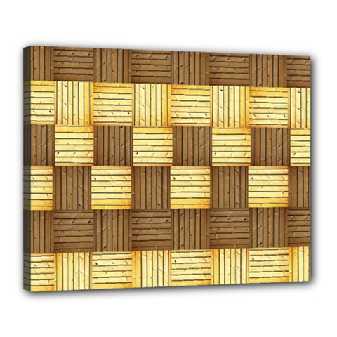 Wood Texture Grain Weave Dark Canvas 20  X 16