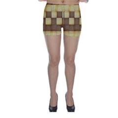 Wood Texture Grain Weave Dark Skinny Shorts