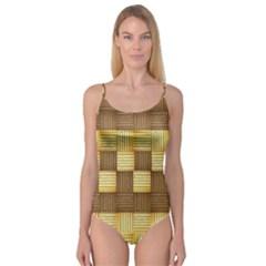 Wood Texture Grain Weave Dark Camisole Leotard