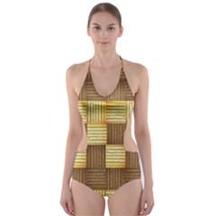 Wood Texture Grain Weave Dark Cut Out One Piece Swimsuit