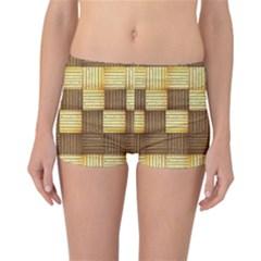 Wood Texture Grain Weave Dark Reversible Boyleg Bikini Bottoms