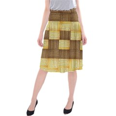 Wood Texture Grain Weave Dark Midi Beach Skirt