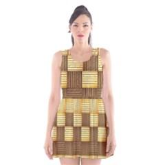 Wood Texture Grain Weave Dark Scoop Neck Skater Dress