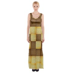 Wood Texture Grain Weave Dark Maxi Thigh Split Dress
