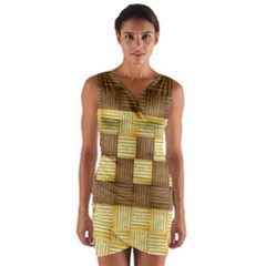 Wood Texture Grain Weave Dark Wrap Front Bodycon Dress