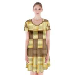Wood Texture Grain Weave Dark Short Sleeve V Neck Flare Dress