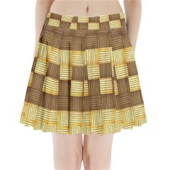 Wood Texture Grain Weave Dark Pleated Mini Skirt